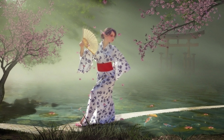 Japanese Fantasy - art, girl, digital, blossoms, hand fan, trees, cherry