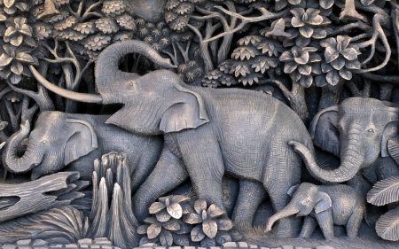 Elephants - art, elephants, Thailand, decorative, grey