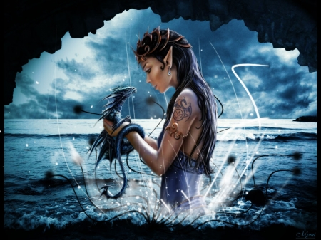 Girl and dragon - anne stokes, fantasy, water, girl, dragon, cave, blue, art, luminos, sea