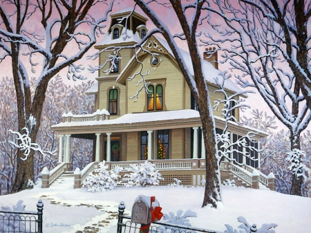 Victorian snow - trees, winter, house, painting, postbox