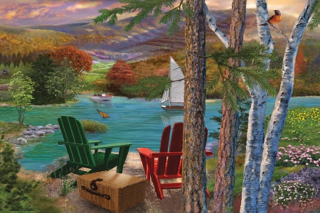 Lakeside View From the Chairs - Scenery, water, boat, basket, Lake, chairs, flowers, picnic
