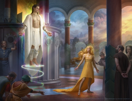 First Glimpse Of The God King - art, king, fantasy, girl, luminos, people, howard lyon, man