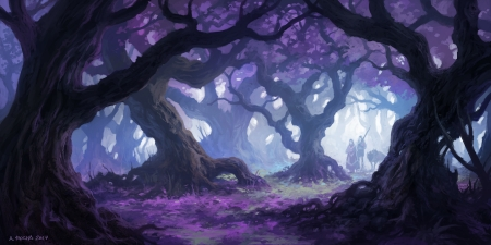 Forest - purple, andreas rocha, forest, art, tree, fantasy, luminos
