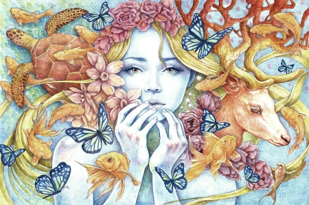 Girl by Rodrigo Suarez - face, rodrigo suarez, art, fish, luminos, deer, fantasy, rodrigo suatez, butterfly, pesti, girl, flower