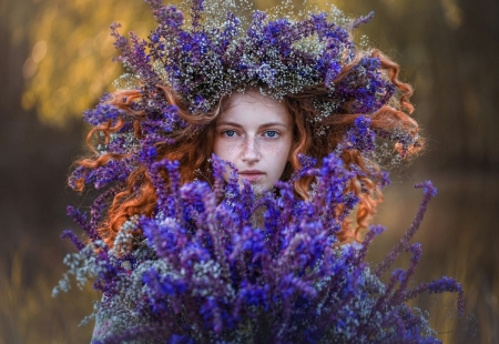 Beauty - model, girl, blue, wreath, redhead, flower
