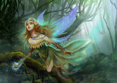 Fairy - art, fantasy, luminos, green, girl, andrea piparo, fairy