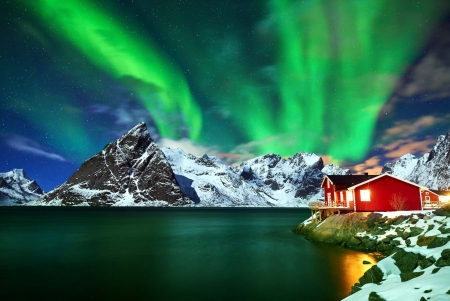 Aurora borealis over winter landscape - snow, island, Norway, night, winter, north, house, beautiful, sea, mountain, Aurora