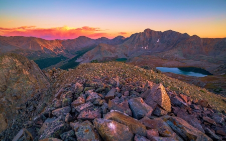 Sunset from a 13,000' peak in the Sawatch Range, Colorado - sky, usa, landscape, mountains, colors