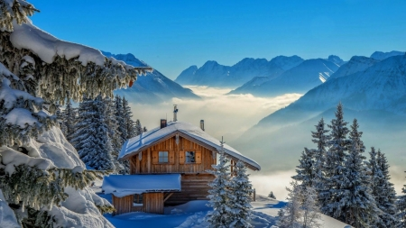 Winter Landscape - sky, snow, mountains, house, trees, fog