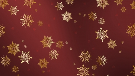 Gold Snowflakes - 3d, gold, christmas, snowflakes, red background