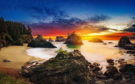 Secret Beach, Oregon - usa, coast, rocks, colors, sunset, clouds, sky