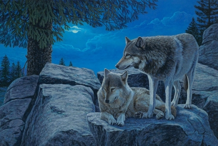 The Night - rocks, moon, tree, wolves, painting