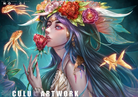 Fantasy girl - wreath, fantasy, pesti, fish, girl, flower, culu, culu artwork, luminos