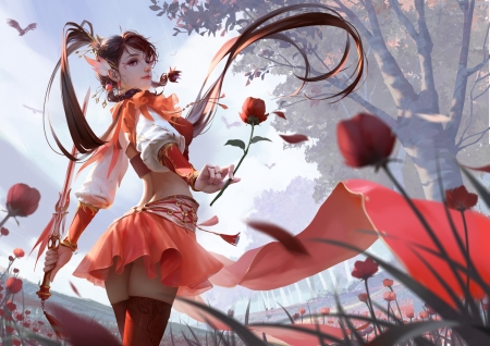 Fantasy girl - rui li, fantasy, ruili, luminos, elf, flower, gorgeous, red, superb, girl