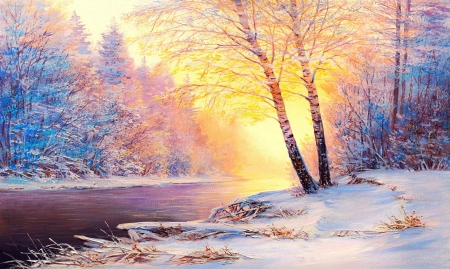 Winter wonderland - forest, oil, wonderland, sunset, beautiful, winter, cold, tree, snow, painting, ice, river, sunrise, frost