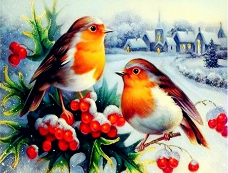 Birds in Winter - painting, village, snow, berries