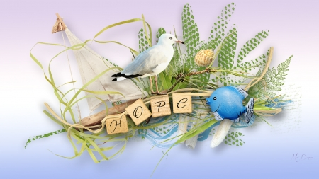 Save Our Seas - ocean, sea, driftwood, hope, seashells, bird, fish