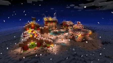 Holiday Winter Night in Little Village - RealmCraft Free Minecraft Clone - open world game, gaming, playgames, pixel games, mobile games, realmcraft, sandbox, free minecraft, games, free, action, game, minecrafters, pixel art, art, 3d building games, pixel, fun, adventure, building, 3d, minecraft
