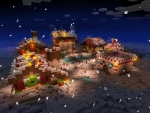 Holiday Winter Night in Little Village - RealmCraft Free Minecraft Clone