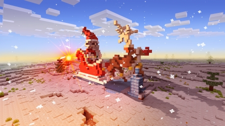 Santa's Carriage and Cute Deer in Realmcraft Free Minecraft Style Game - open world game, gaming, playgames, pixel games, mobile games, realmcraft, sandbox, free minecraft, games, free, action, game, minecrafters, pixel art, art, 3d building games, pixel, fun, adventure, building, 3d, minecraft