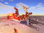 Santa's Carriage and Cute Deer in Realmcraft Free Minecraft Style Game