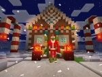 Christmas Lights on Gingerbread House in Realmcraft Free Minecraft StyleGame
