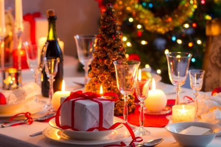 Holiday celebrations - Gift, Holiday, Lights, Christmas, Champagne, Table