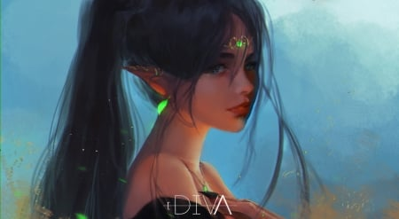 Elf girl - girl, earrings, elf, face, diva, art, div4online, luminos, fantasy, green, dark