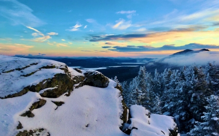 Cranberry Peak, Maine at sunrise - landscape, usa, pinetrees, colors, trees, sky, clouds