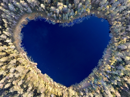 Heart lake - lake, heart, view from the top, inima, christian lindsten, peisaj, blue