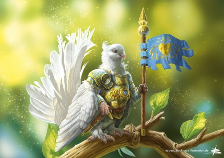:) - art, isabeau backhaus, fantasy, bird, green, dove, flag, knight, pasari