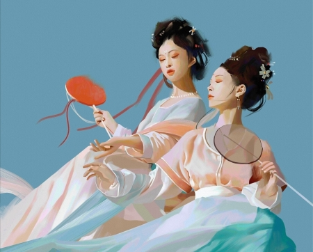 Girls with hand fans - red, art, frumusete, luminos, wind, superb, hand fan, fantasy, evantai, girl, guairen laohei, asian, blue, couple, gorgeous