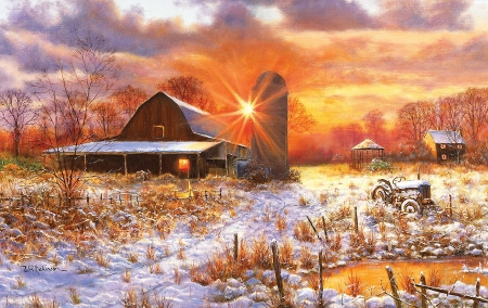 Barn in Snow - painting, sunset, winter, landscape, tractor