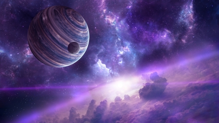 Space - cloud, fantasy, planet, purple, space, cosmos, ppink, star