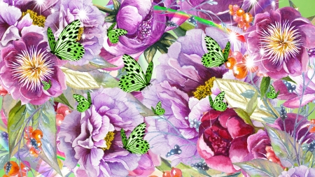 Shades of Purple Flowers - flowers, summer, avender, spring, butterflies, peonies, floral, poppies, purple, violet