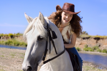 Beauty - model, cowgirl, girl, smile, woman, horse, hat