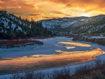 Sunset on the Colorado River, Eagle County, Colorado