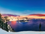 The Sun Rising Over Wizard Island - The Magical Crater Lake