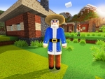 Wandering Trader in Santa's Costume in Realmcraft Free Minecraft StyleGame