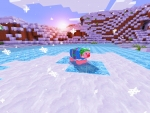 Little Pig in Blue Christmas Sweater in Realmcraft Free Minecraft Style Game