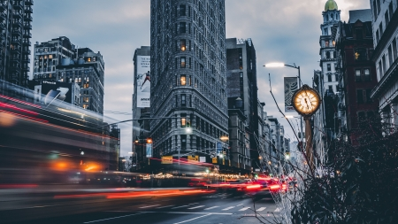 Flatiron Building NYC - building, architecture, flatiron, new york city, long exposure