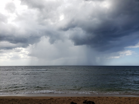 Hawaiian Beach - water, storm, clouds, Hawaiian Beach