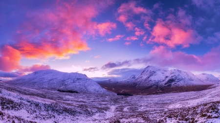 West Highlands, Scotland - winter, mountains, snow, colors, sky, clouds