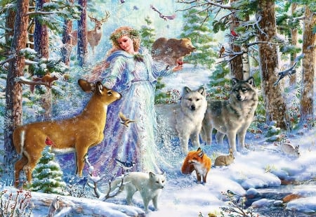 Spirit of Winter - forest, rabbit, pig, squirrel, birds, trees, deer, snow, girl, fox, painting, wolves, animals, fairy