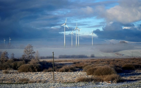 Wind Turbines in Latvia - Latvia, fields, clouds, wind turbines, mist