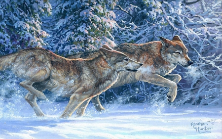Dashing Through The Snow - winter, wolfpack, painting, wolves, trees, artwork