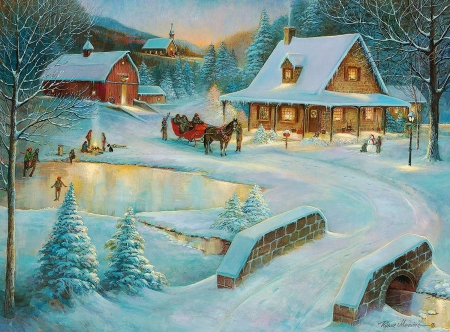 Winter at little meadow farms - house, snow, bridge, river, trees, horse, barn, sleigh, artwork, painting