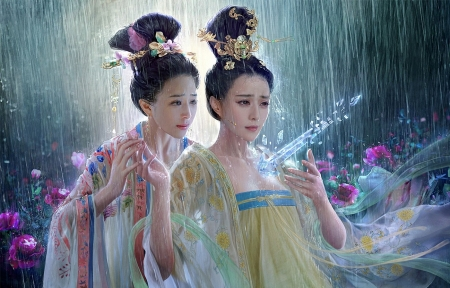 The Rain of Japan - painting, asian, rain, girls