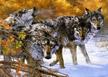 Wild Hunters - painting, leaves, snow, wolves
