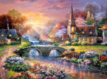 Peaceful reflections - art, water, bridge, painting, james lee, church, pictura